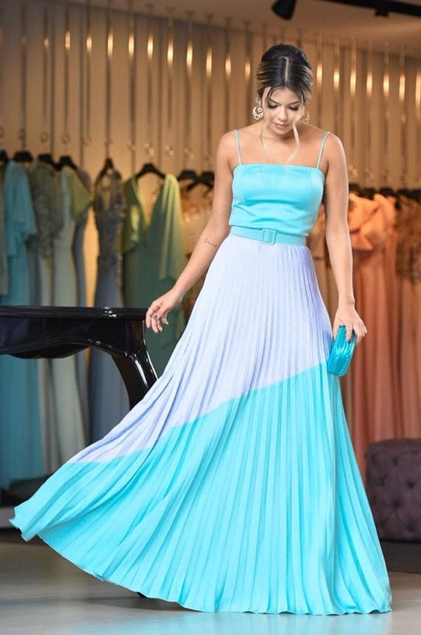 vestido de festa longo para convidada de casamento durante o dia