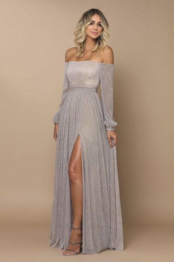vestido de festa longo prata