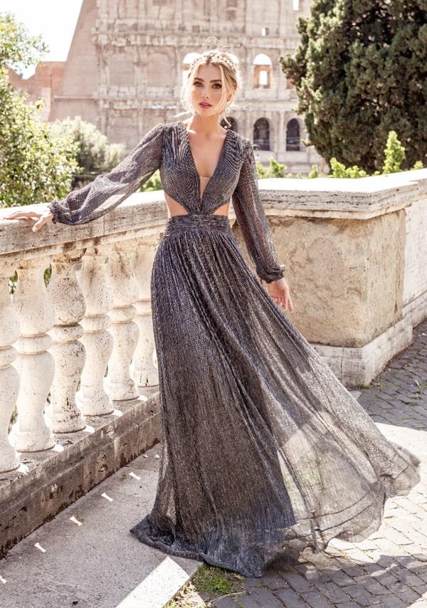 vestido de festa longo cinza grafite com brilho modelo com recortes na cintura e manga longa