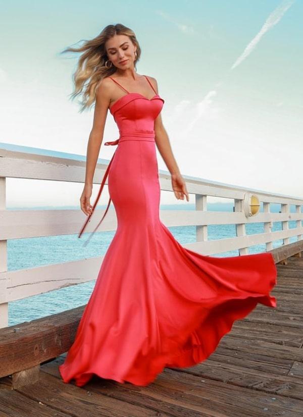 vestido de festa longo coral