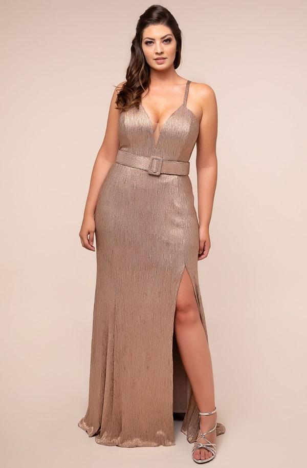 vestido de festa longo plus size dourado