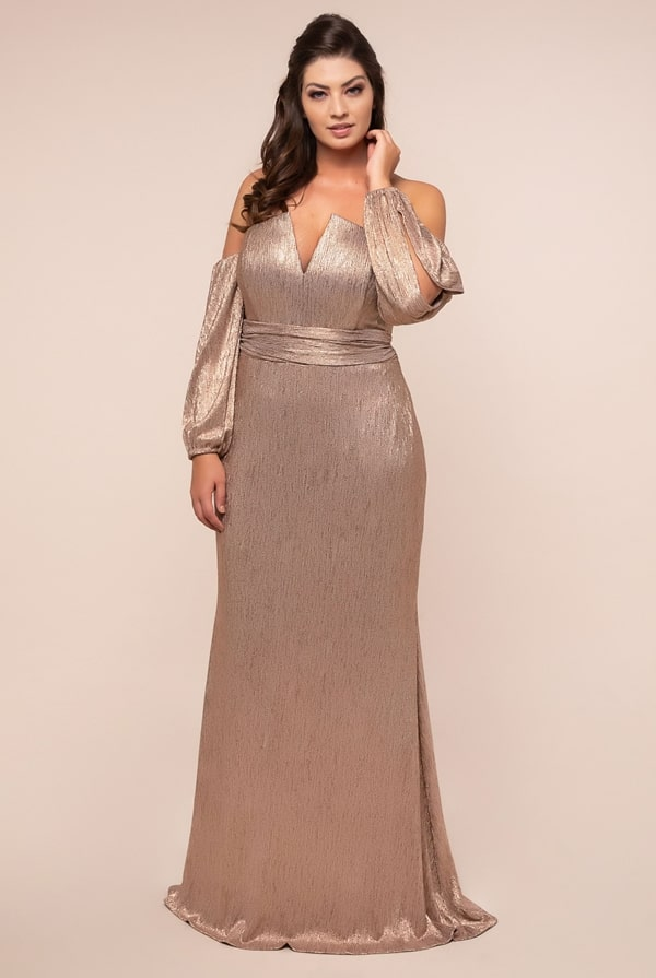 vestido de festa longo plus size dourado manga longa