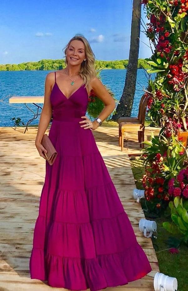 vestido longo fucsia para convidada de casamento