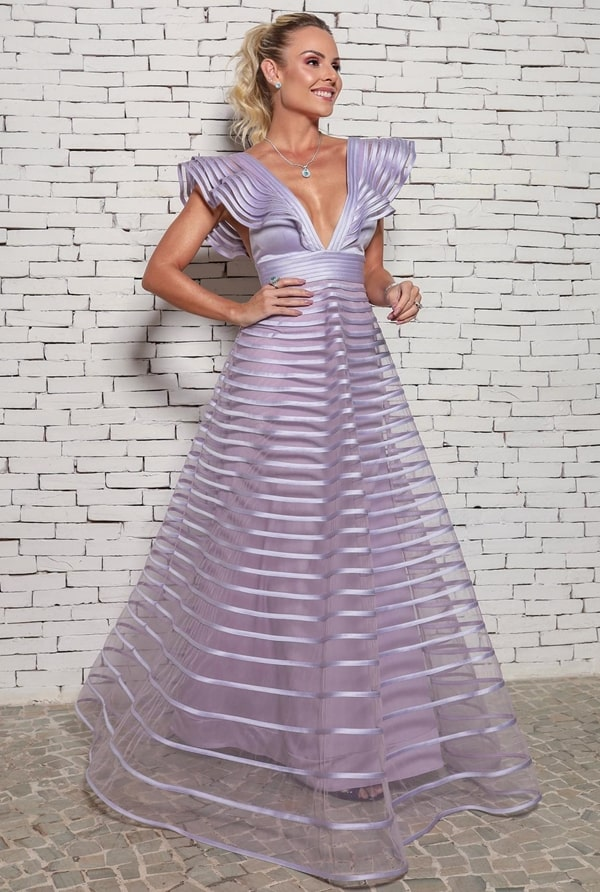 vestido de festa longo lilás para madrinha de casamento