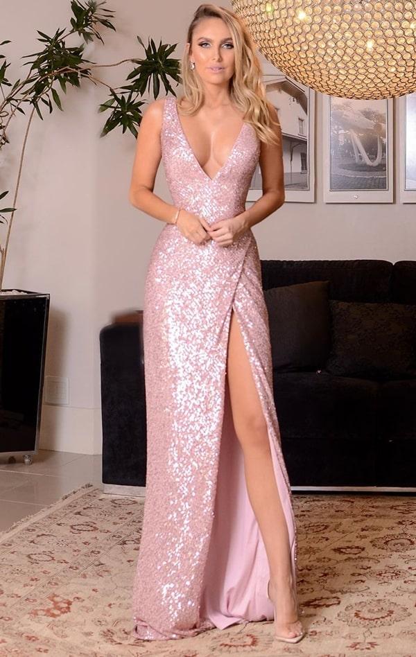vestido de festa longo rose bordado em paetes