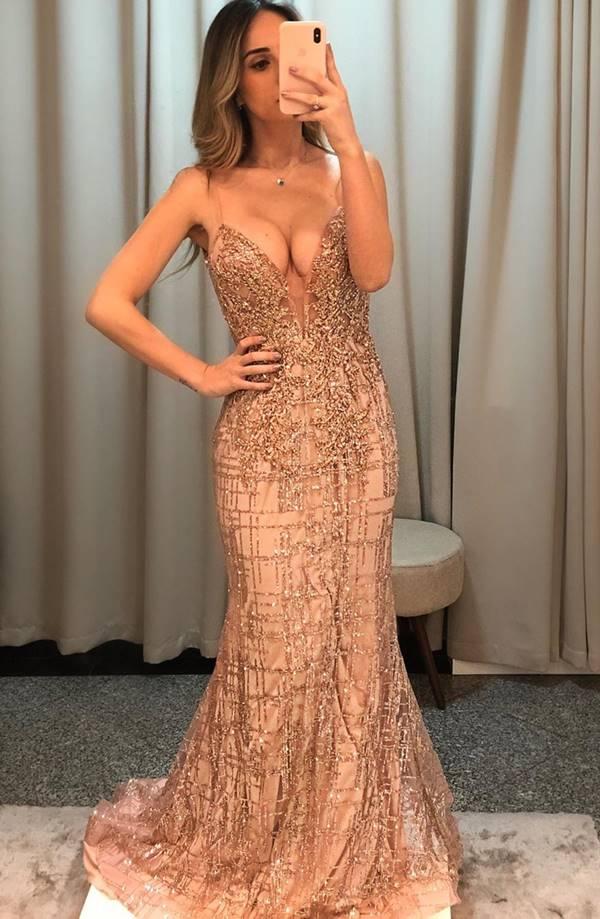 vestido de festa longo rose gold