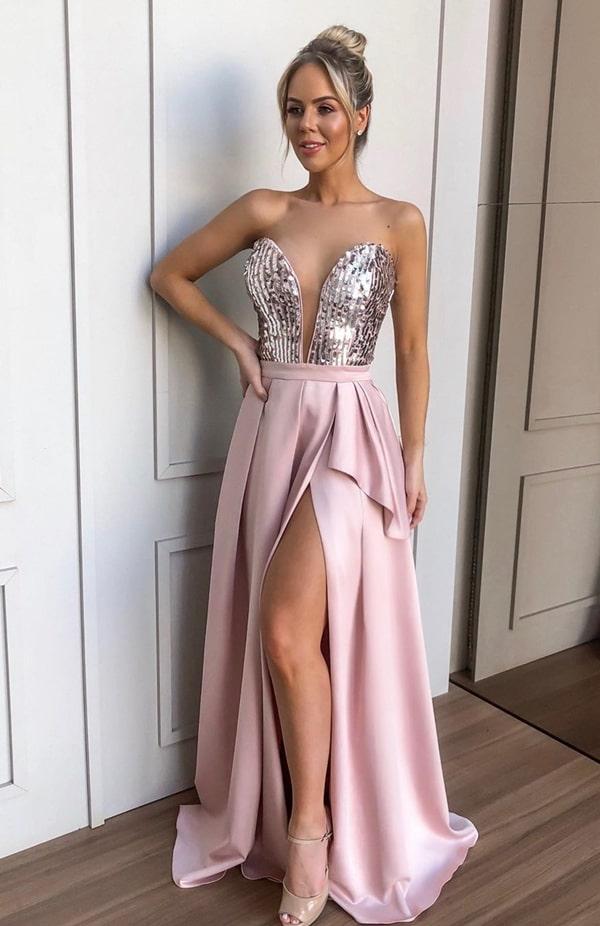 vestido de festa longo rose para madrinha de casamento a noite
