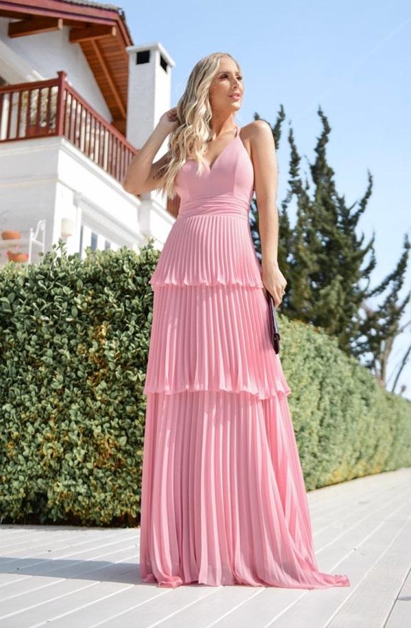 vestido de festa longo rose com plissado