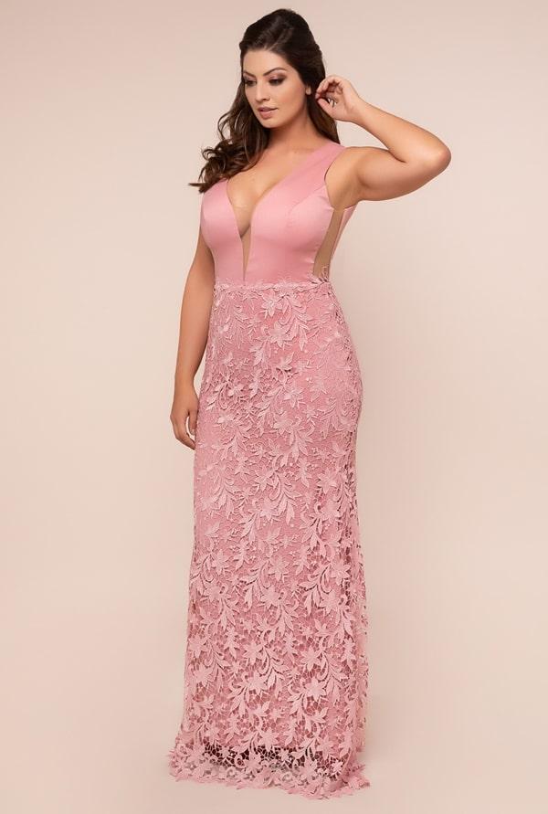 vestido de festa longo plus size rose