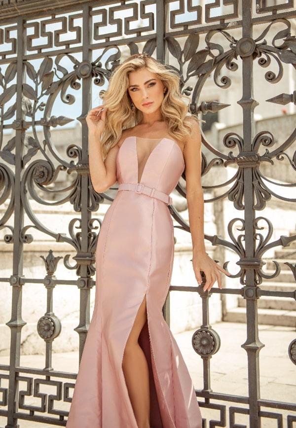 vestido de festa longo rose modelo sereia com cinto