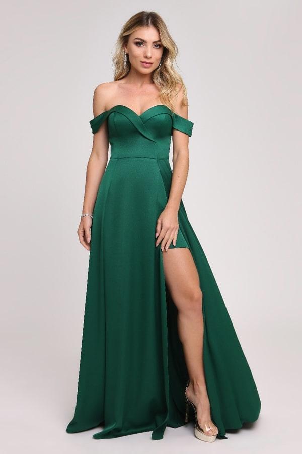 vestido longo verde esmeralda com fenda