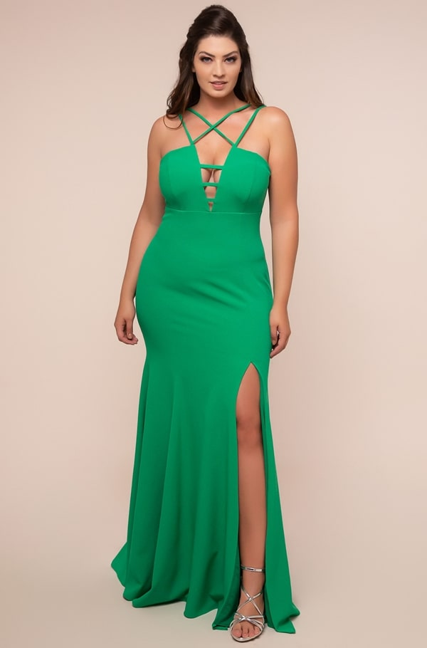 vestido de festa longo plus size verde
