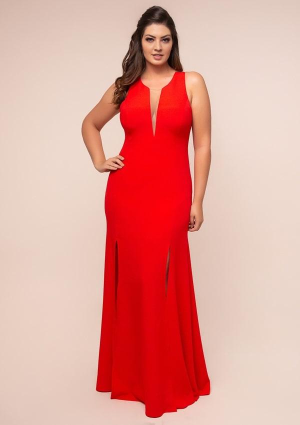 vestido de festa longo plus size vermelho