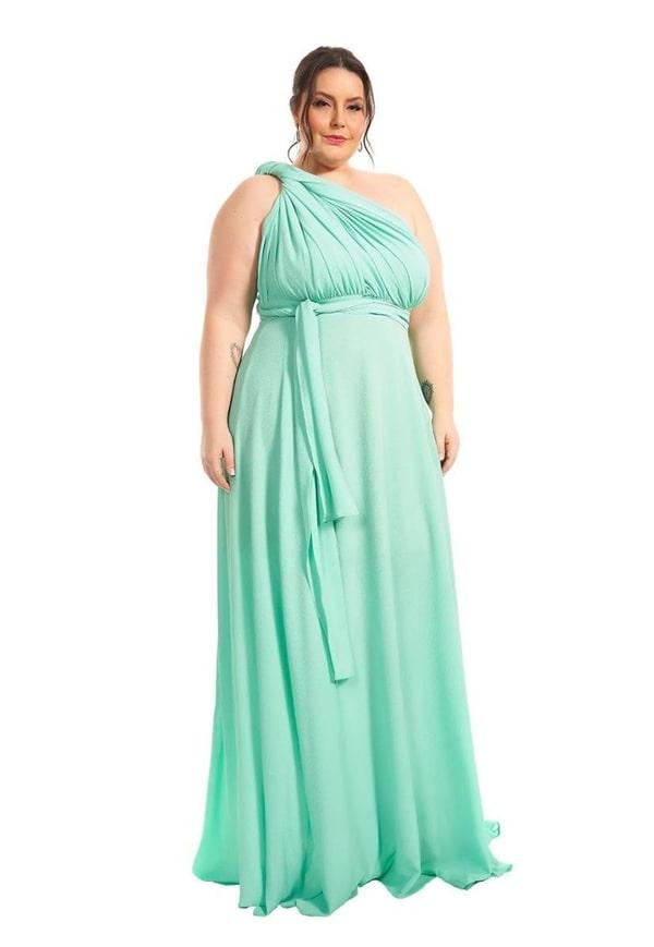 vestido de festa longo plus size verde claro para madrinha de casamento