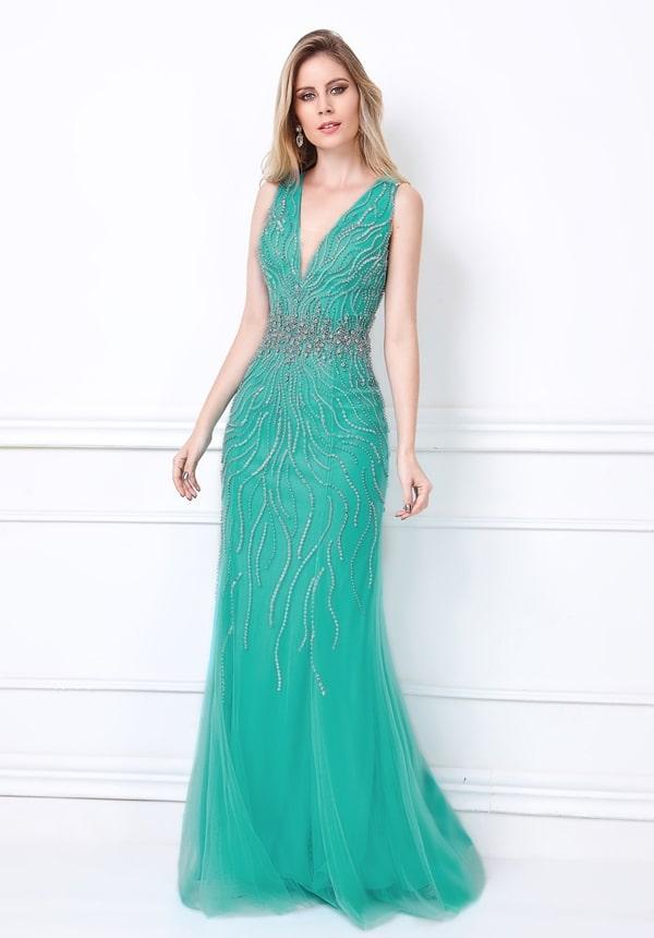 vestido de festa verde tiffany longo bordado