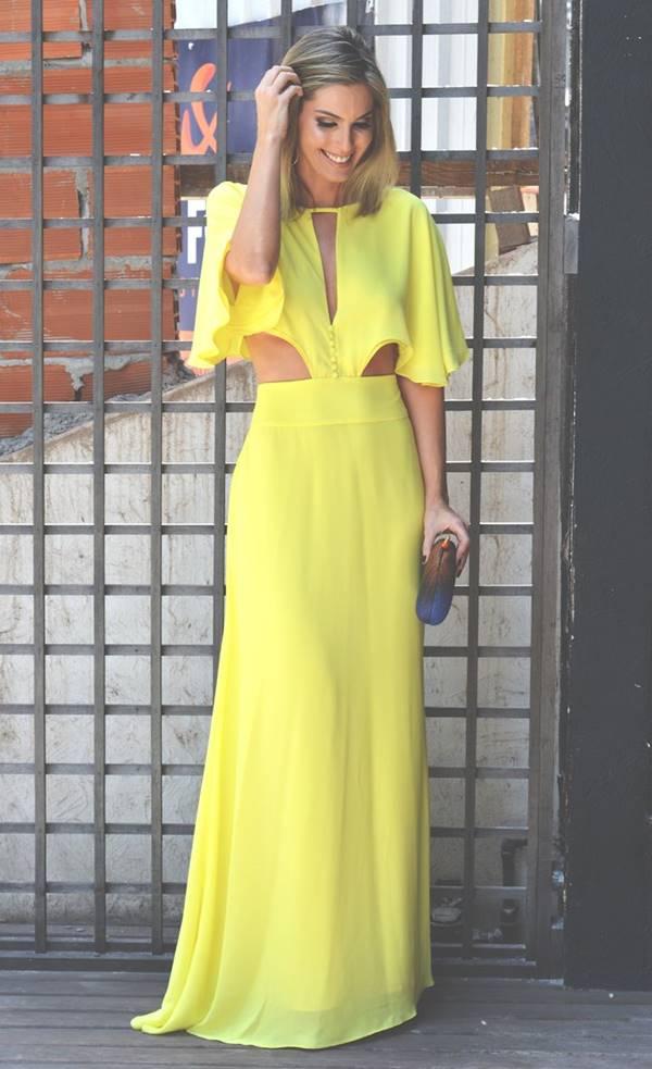 vestido longo amarelo para casamento