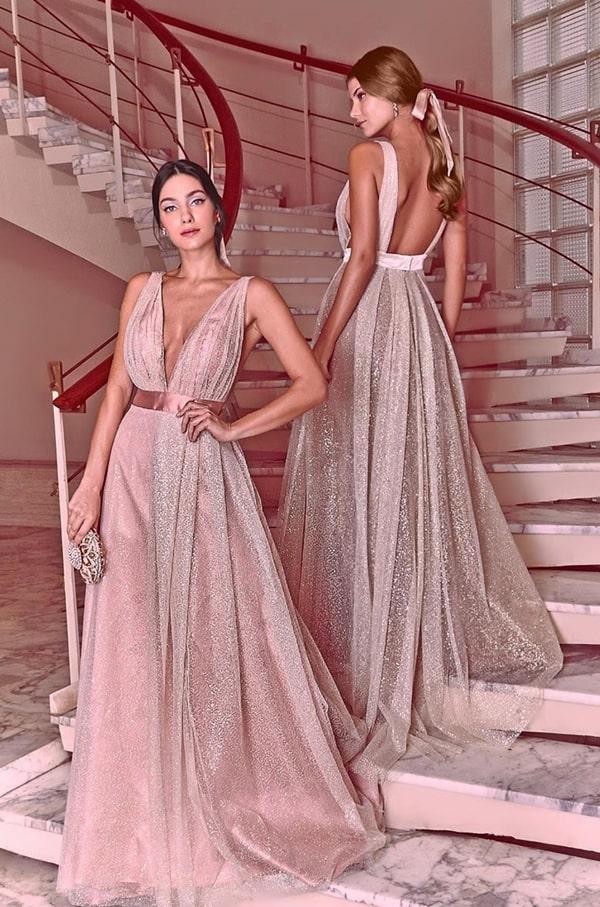 vestido de festa longo rose com tule glitter para madrinha de casamento