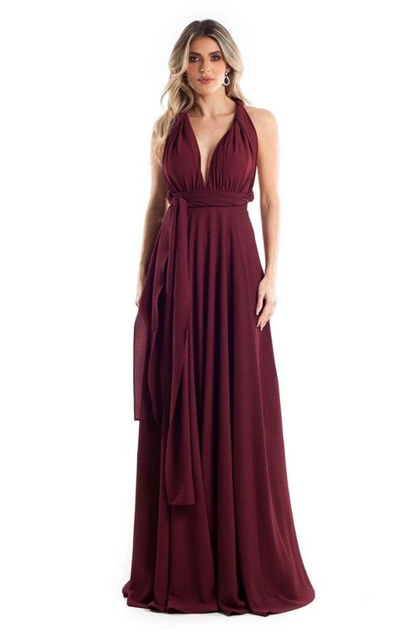 vestido longo marsala barato para madrinha de casamento