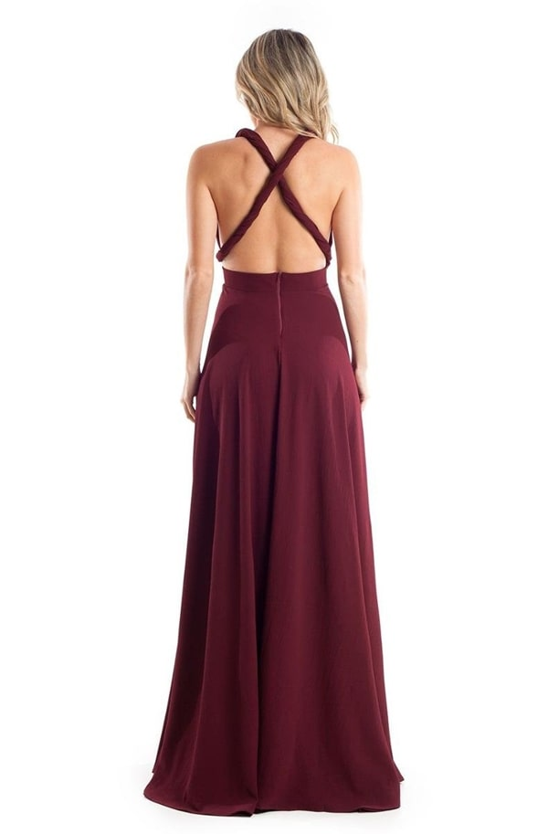 Vestido longo marsala barato para madrinha, modelo multiformas