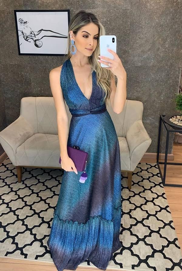 vestido longo metalizado brilho para convidada