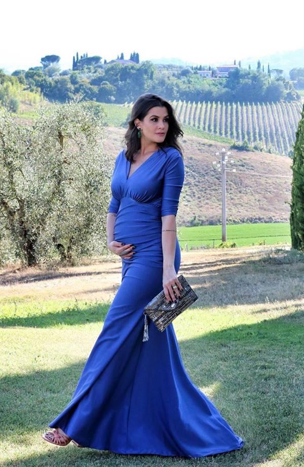 vestido de festa longo para madrinha de casamento grávida