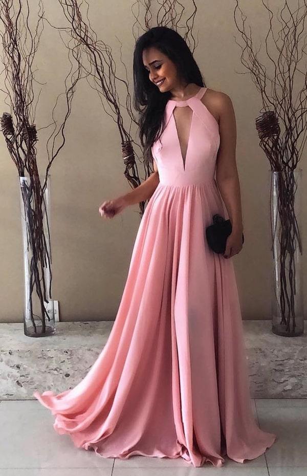 Vestido longo rose fluido para madrinha de casamento