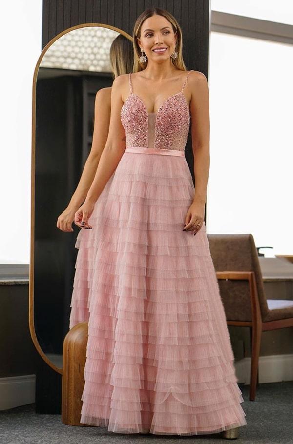 vestido longo rose com brilho para madrinha de casamento