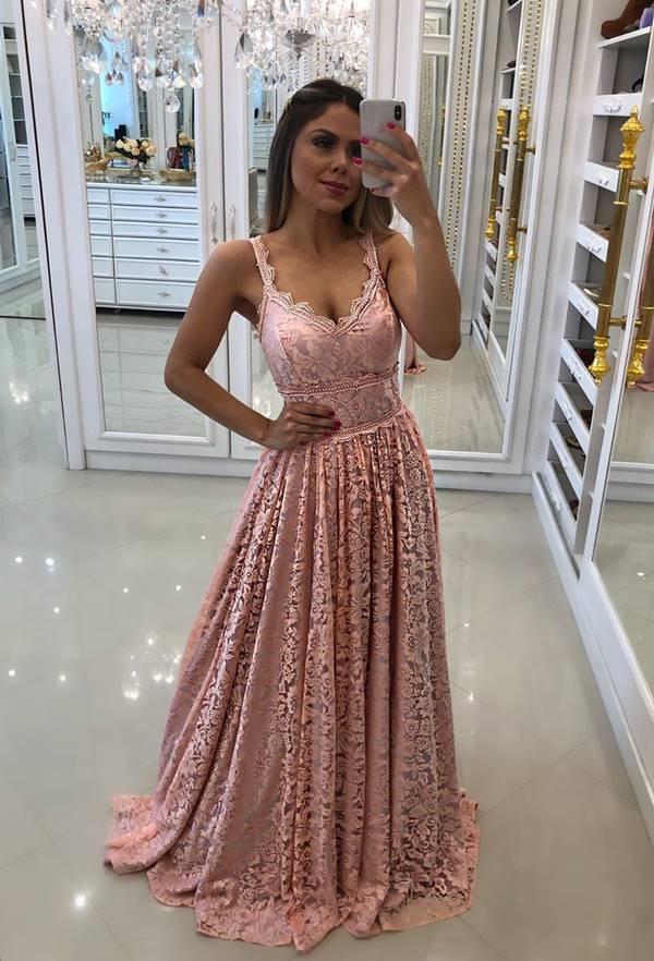 vestido longo rose rendado para madrinha de casamento