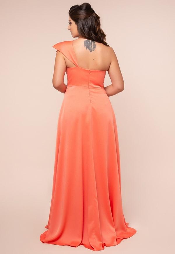 vestido de festa longo coral plus size
