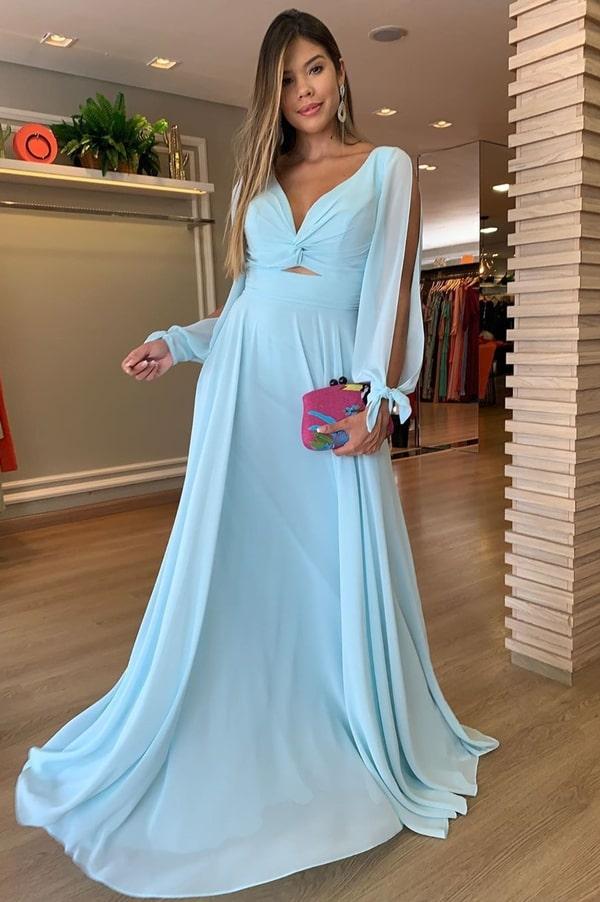 vestido longo azul claro para madrinha de casamento durante o dia