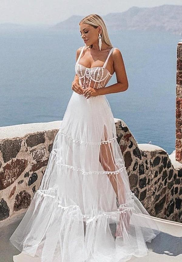 vestido longo branco com corpete e saia de babados para reveillon