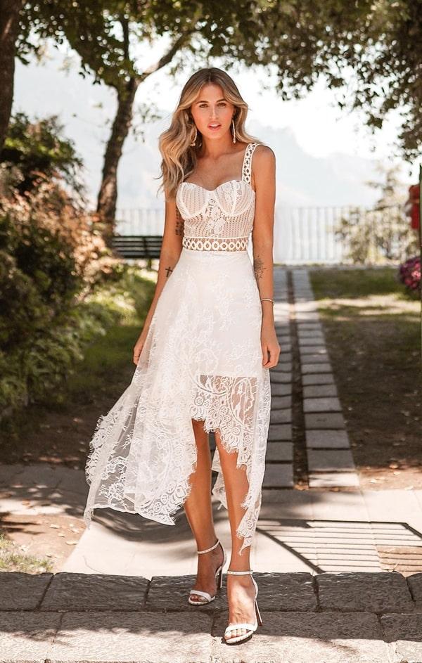 vestido branco midi rendado