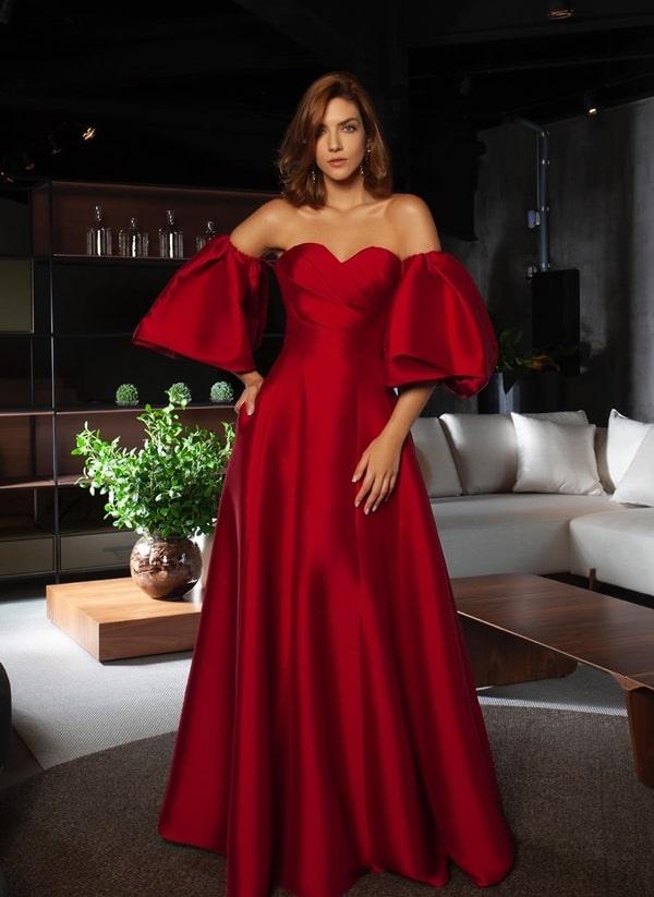 vestido de festa vermelho com manga bufante para madrinha de casamento