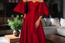 vestido de festa vermelho com manga bufante