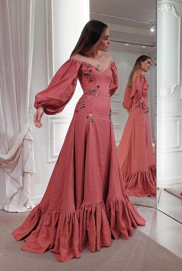 vestido de festa com manga longa bufante