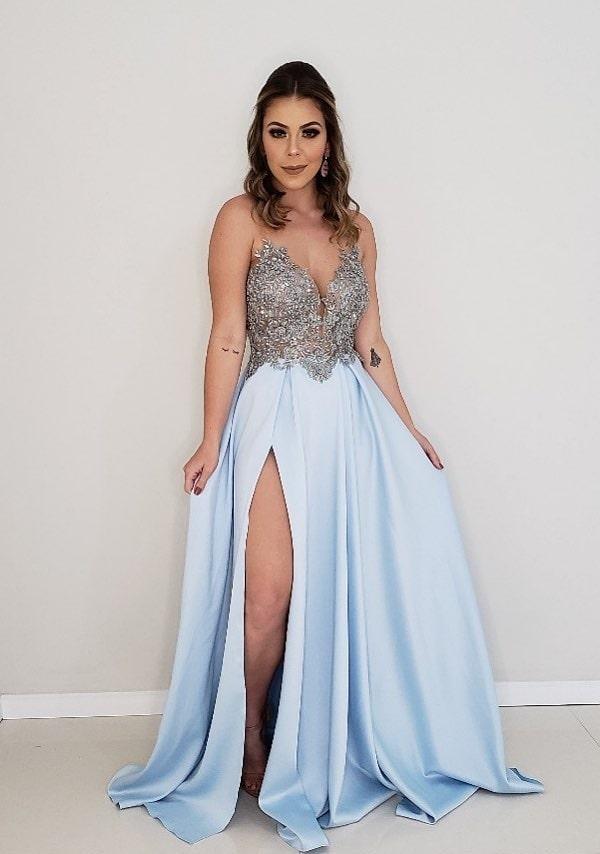 vestido de festa longo azul serenity com fenda