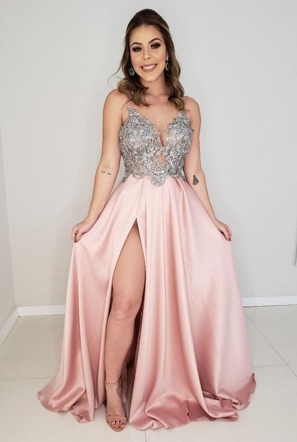 vestido de festa longo rose com fenda