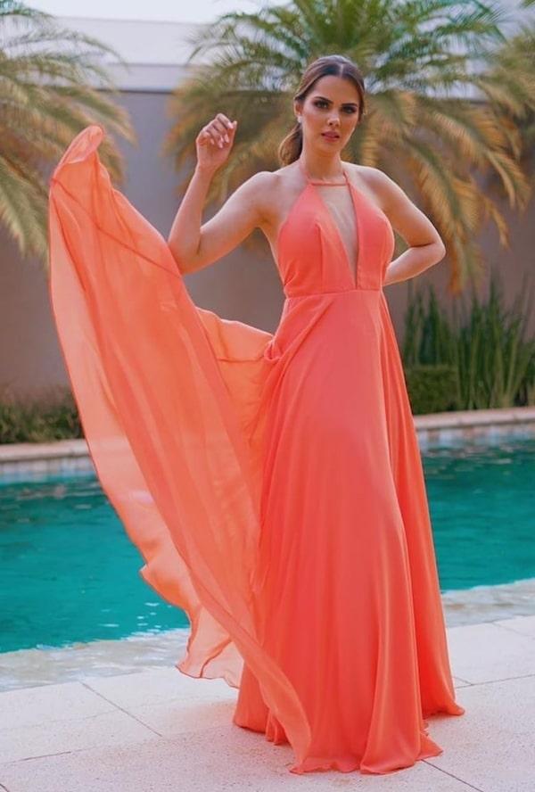vestido de festa longo coral laranja para madrinha de casamento