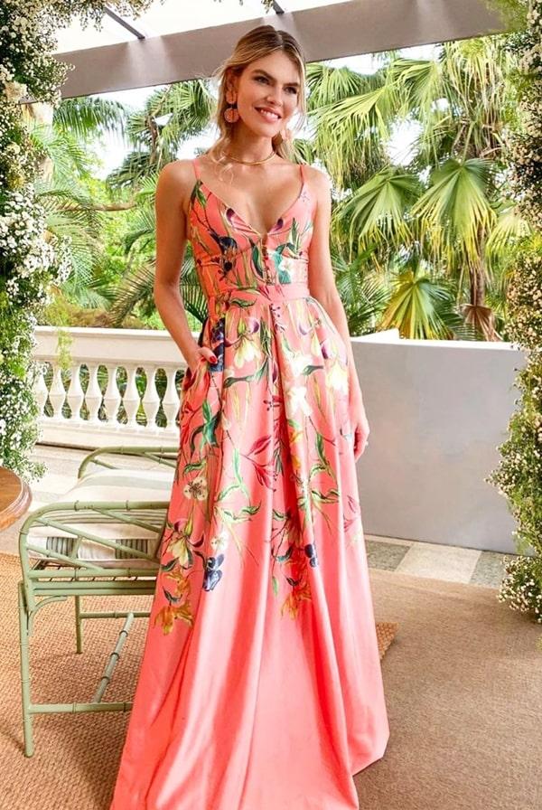 vestido de festa longo pêssego estampado