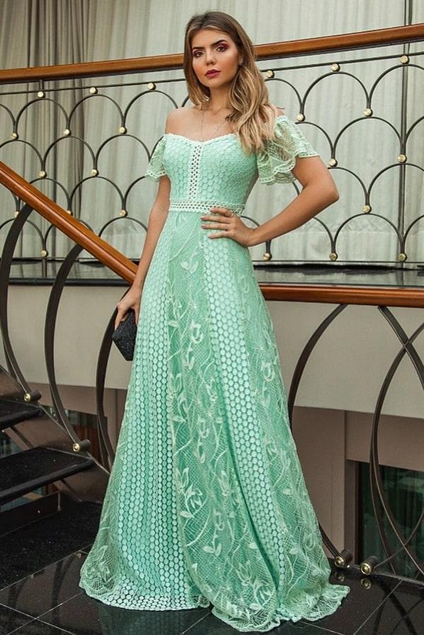 vestido de festa longo verde claro verde menta para madrinha de casamento