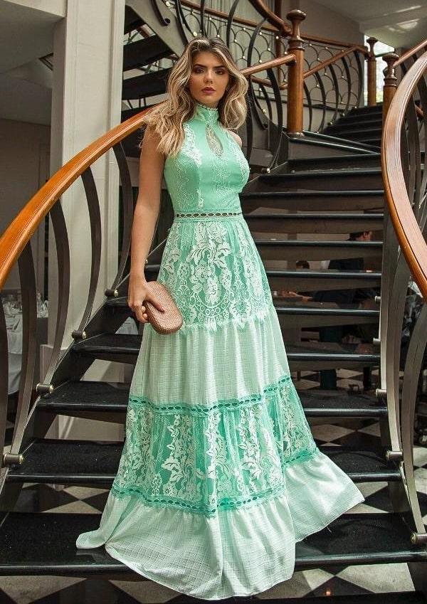 vestido de festa longo verde menta para madrinha de casamento