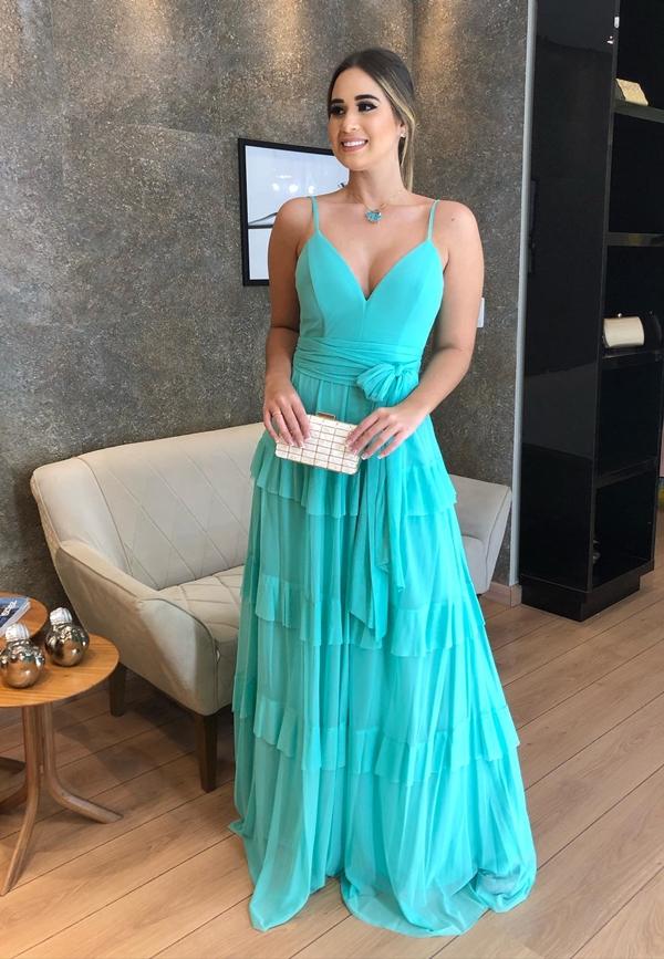 vestido longo tiffany para madrinha de casamento durante o dia