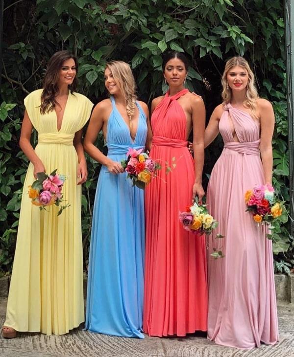 vestido de festa longo amarração multiformas paleta candy colors para madrinha de casamento