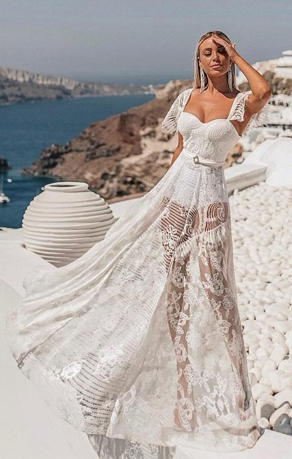 vestido longo branco rendado com hot pants para reveillon