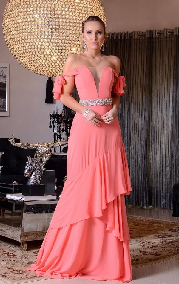 vestido de festa longo pêssego para madrinha de casamento