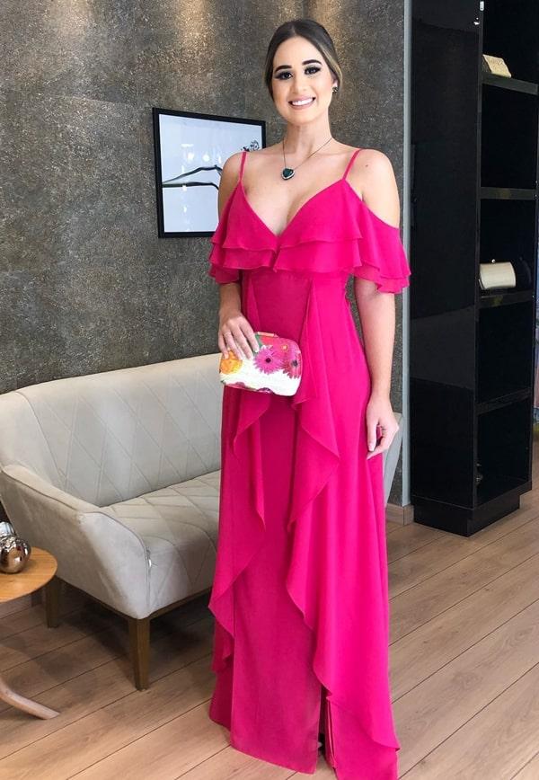 vestido longo pink para convidada  de casamento durante o dia