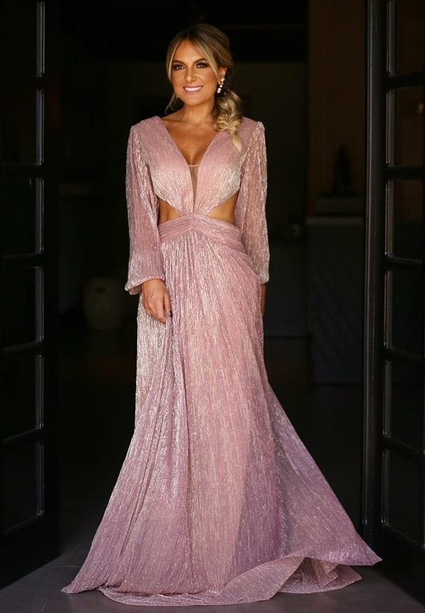 vestido de festa longo rose com brilho lurex