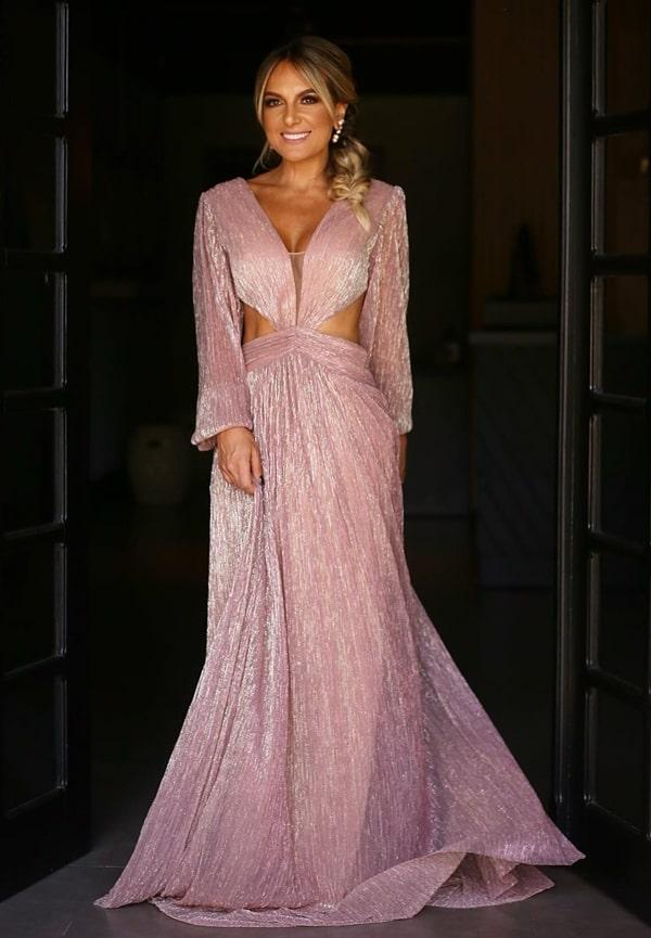 vestido de festa longo rose com brilho