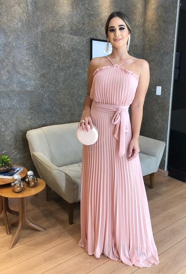 vestido longo rose  para madrinha de casamento durante o dia