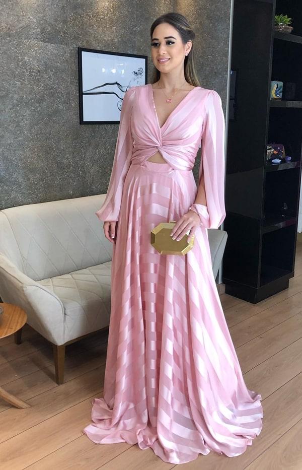 vestido longo rose de mangas longas para madrinha de casamento